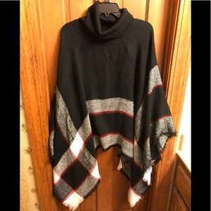 Cowl neck poncho. OS. Black, red, white. Like new.